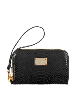 MICHAEL Michael Kors Phone Wallet, Black Snake-Embossed
