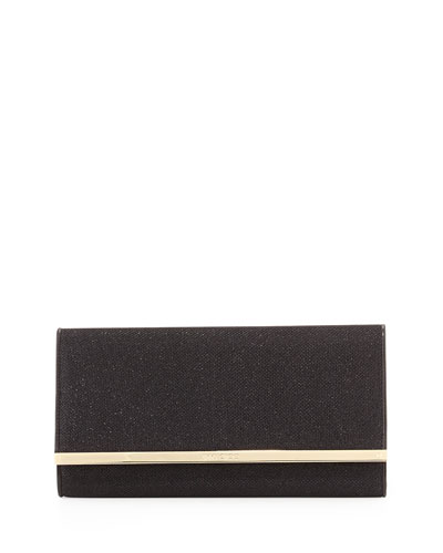 Jimmy Choo Maia Large Glittery Wallet Clutch Bag, Black