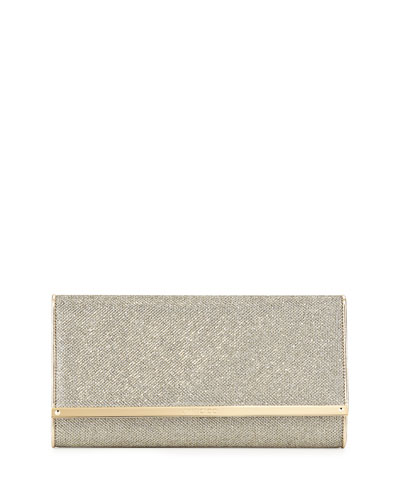 Jimmy Choo Maia Large Glittery Wallet Clutch Bag, Bronze