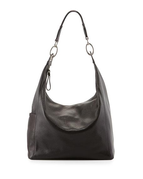 Le Foulonne Leather Hobo Bag Black