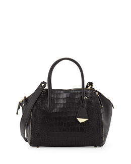 Rebecca Minkoff Perry Croc-Print Mini Satchel Bag, Black