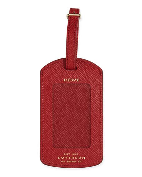 Smythson Panama Luggage Tag, Red