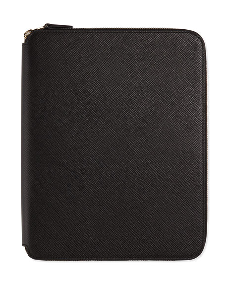 Smythson Panama A5 Zip Folder with Notebook, Black