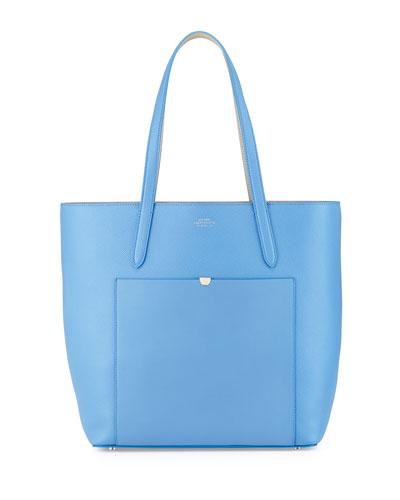 Smythson Panama North-South Tote Bag, Blue