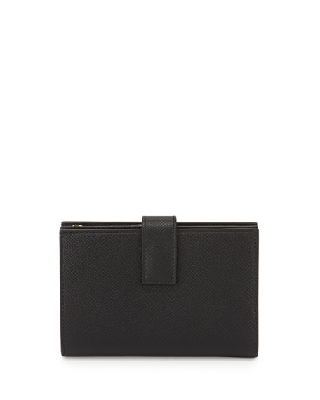 Smythson Panama Medium Continental Wallet, Black