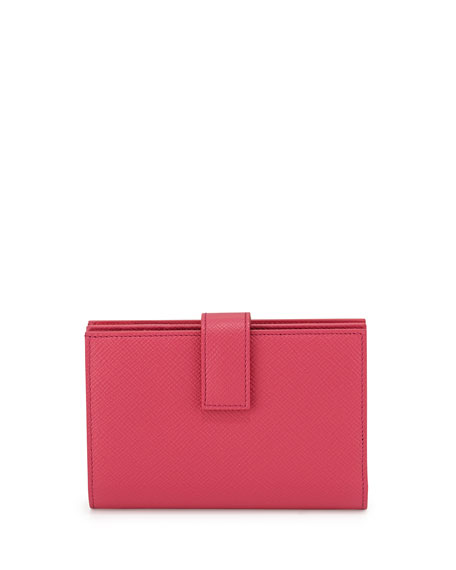 Smythson Panama Medium Continental Wallet, Fuchsia