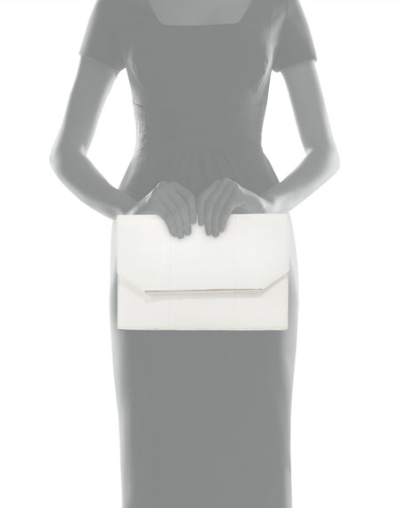 Kelly Snake-Embossed Envelope Clutch Bag, White