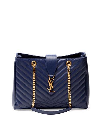 1ee57ef231d V28H2 Saint Laurent Monogramme Matelasse Shopper Bag, Navy