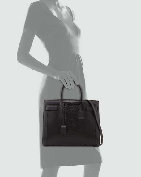 ysl men bag - Saint Laurent Sac de Jour Small Python-Stamped Tote Bag, Black
