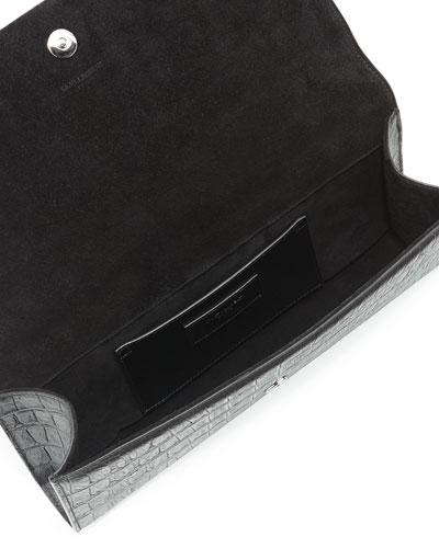 Saint Laurent Classic Monogram Saint Laurent Tassel Clutch In Black Leather