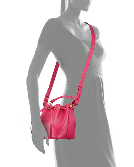 Small Bucket Crossbody Bag, Fuchsia