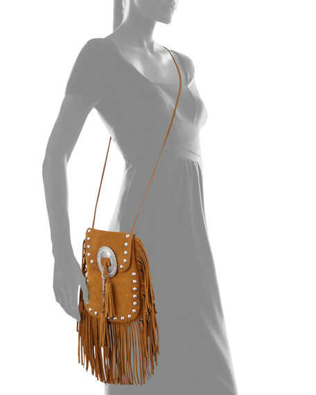 ysl bags outlet online - Saint Laurent Anita Small Suede Fringe Flat Bag, Camel