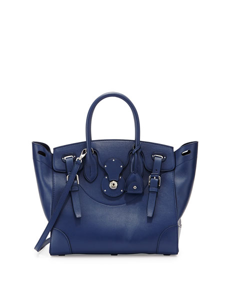 Ralph Lauren Soft Ricky 33 Medium Calfskin Satchel Bag, Navy