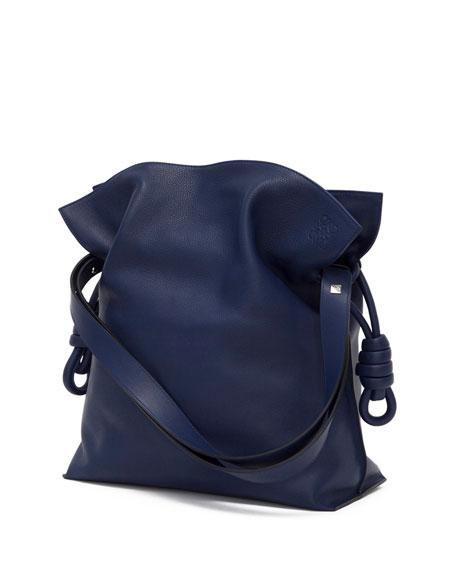 Flamenco Knot Bucket Bag, Navy Blue