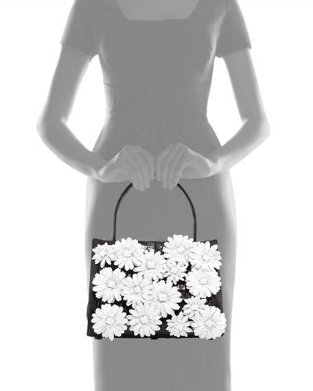 Medium Floral/Crocodile Satchel Bag, Black/White