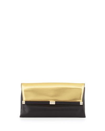 440 Envelope Flap Clutch Bag, Gold/Black