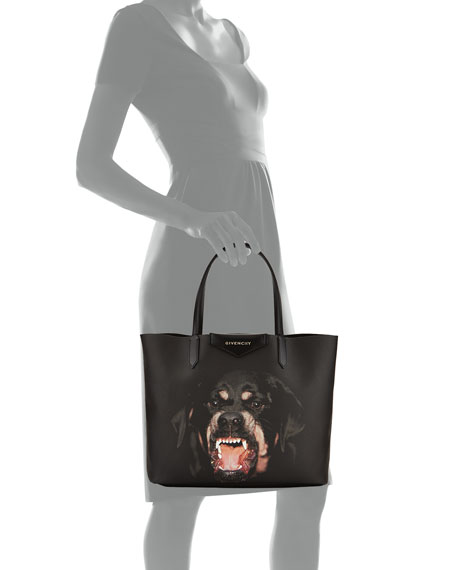 Antigona Rottweiler Small Coated Canvas Shopping Tote Bag