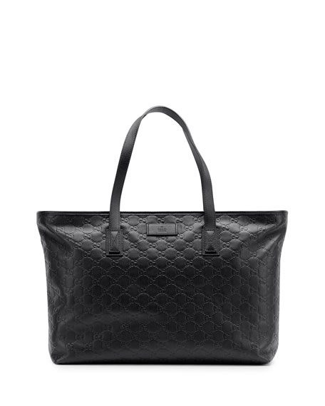 Guccissima Leather Tote Bag, Black