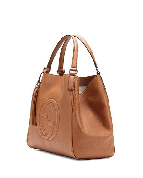 Gucci Soho Medium Leather Shoulder Bag, Dusty Blush Cognac e5ff2ec6407
