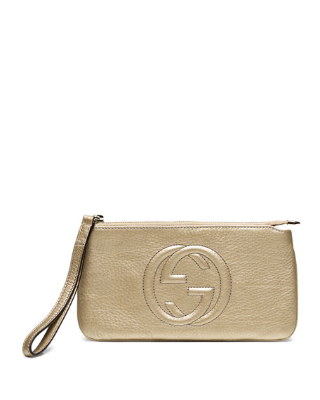 Image 1 of 1: Soho Metallic Leather Wristlet, Golden