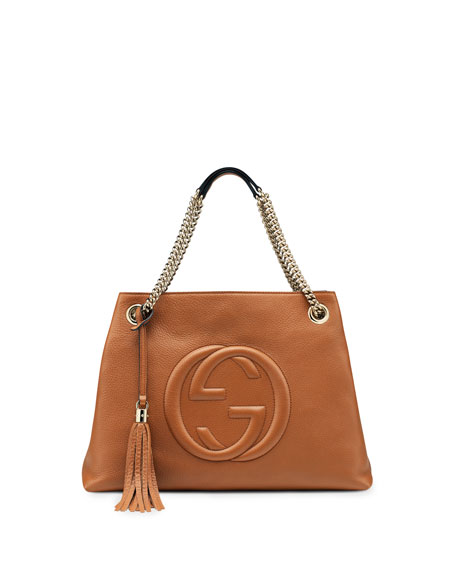 Soho Leather Chain-Strap Tote, Blush Cognac