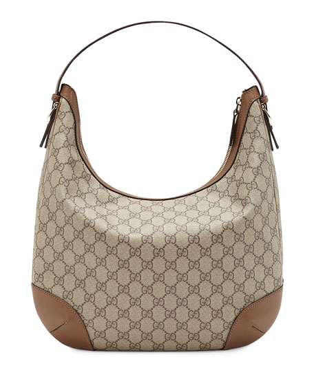 Gucci Nice GG Supreme Canvas Hobo, Beige/Medium Brown