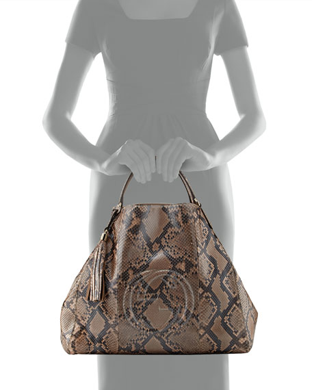 567f00bafc26 Gucci Soho Large Python A-Shape Tote Bag