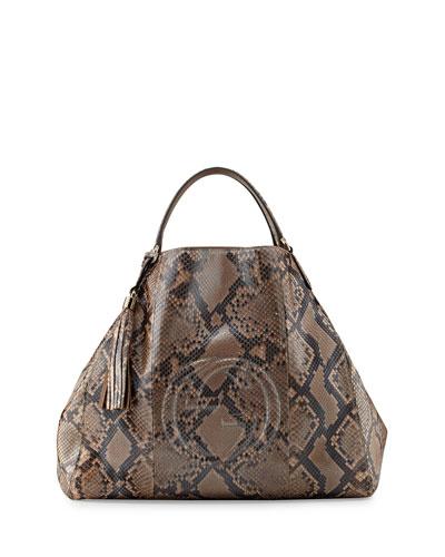 Gucci Soho Large Python A-Shape Tote Bag, Pearl Gold Pink