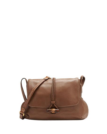 Hip Bamboo Leather Flap Shoulder Bag, Acero Mushroom