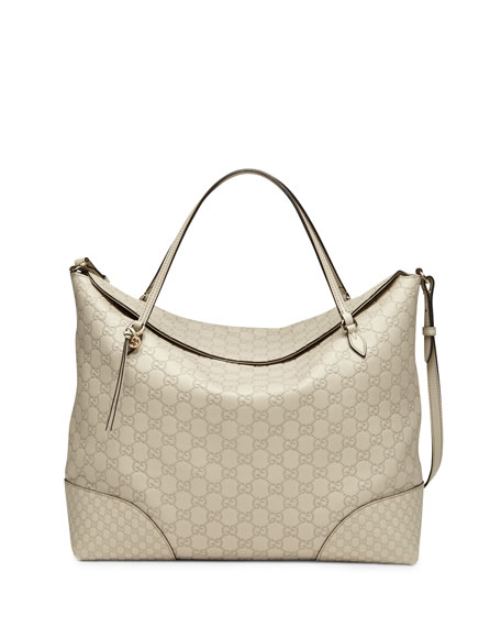 Bree Large Double-Handle Leather Tote, Mystic White