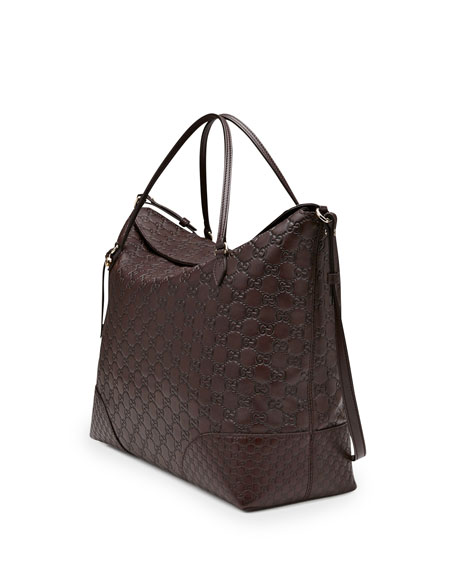 Bree Large Double-Handle Leather Tote, Chocolate