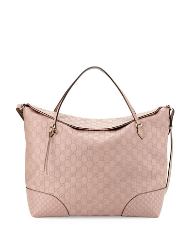 Gucci Bree Large Double-Handle Leather Tote, Cipria Pink