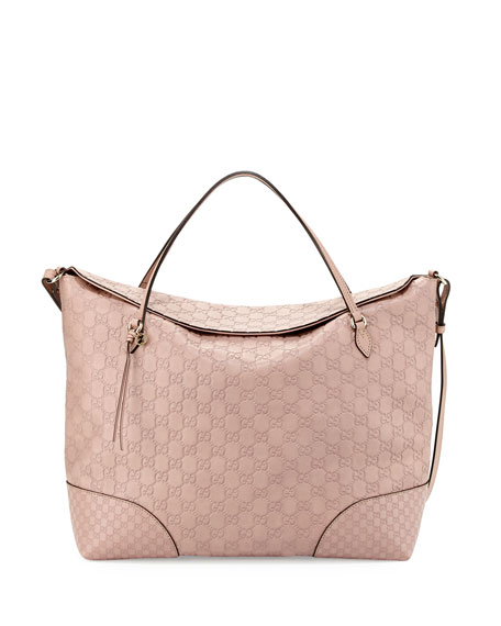 Bree Large Double-Handle Leather Tote, Cipria Pink