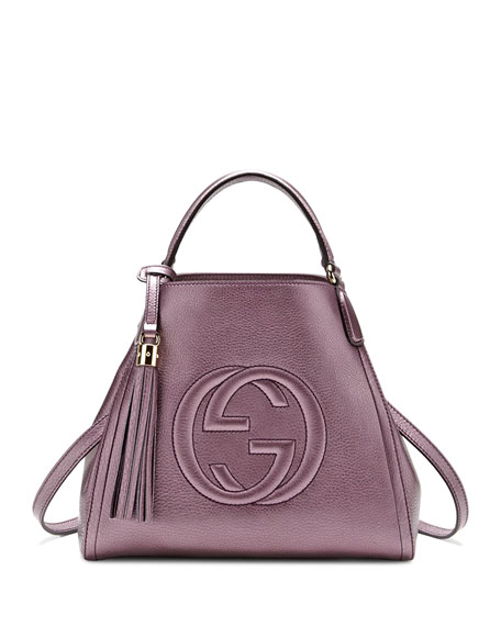 Gucci Soho Leather Shoulder Bag, Metallic Purple