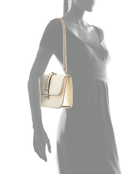 Valentino Medium Rockstud Lock Bag, Ivory