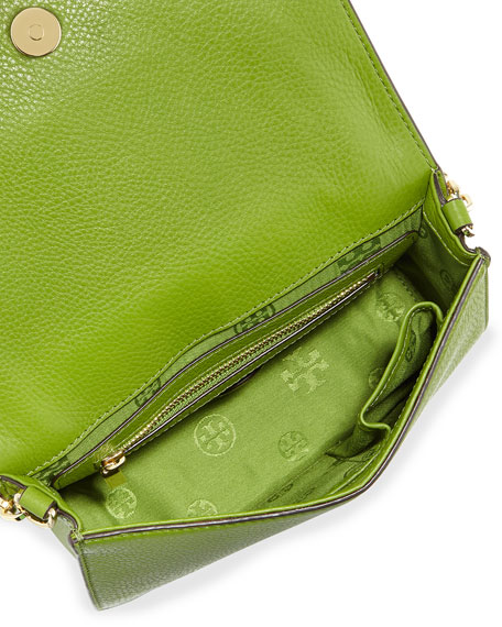All T Pebbled Crossbody Bag, Leaf Green