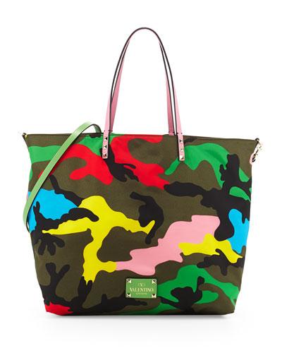 Valentino Psychedelic Camo Nylon Easy Tote Bag