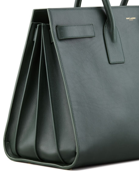 Saint Laurent Classic Sac De Jour Leather Tote Bag, Green