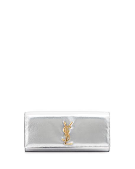 Saint Laurent Cassandre Metallic Logo Clutch Bag, Argentinto Silver