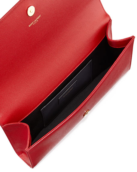 Cassandre YSL-Flap Leather Clutch Bag, Lipstick Red