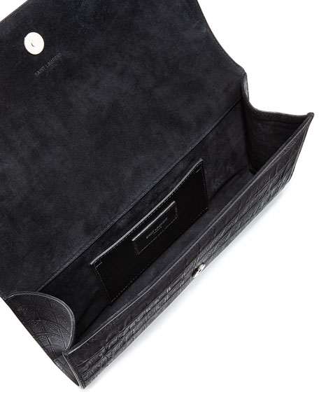 Grain 5/6 Croc-Stamped Flap Clutch Bag, Black