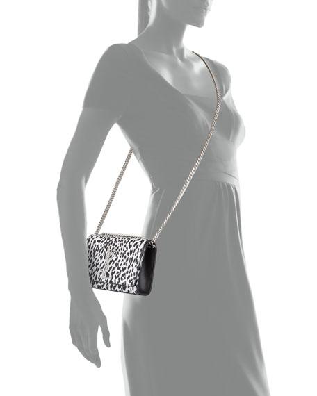 Cassandre Leopard-Print Crossbody Bag, Black/White