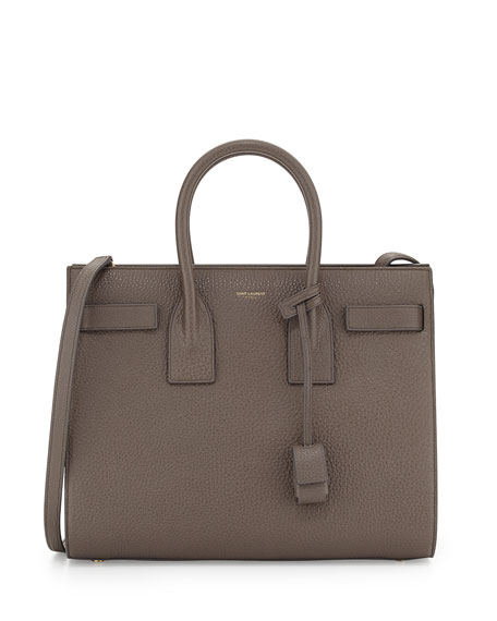 Saint Laurent Sac de Jour Small Grained Leather Tote Bag, Earth Gray ...