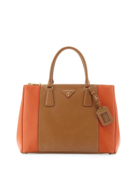 Bicolor Saffiano Double-Zip Tote Bag, Brown/Orange (Carmel/papaya)
