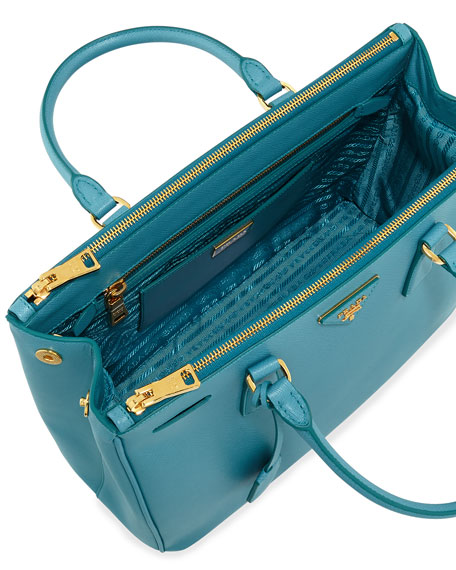 Saffiano Double-Zip Executive Tote Bag, Turquoise (Turchesse)