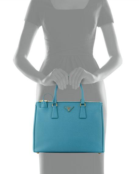 Saffiano Double-Zip Executive Tote Bag, Turquoise (Turchesse)