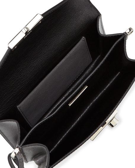 Prada Saffiano Mini Sound Bag, Gray (Marmo)