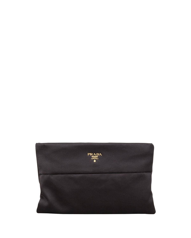 65e6c633b0db9d Prada Raso Satin Clutch Bag, (Black) Nero | Neiman Marcus