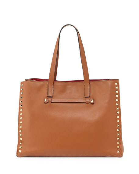 Rockstud Soft Double-Strap Tote Bag, Cuir/Rossa