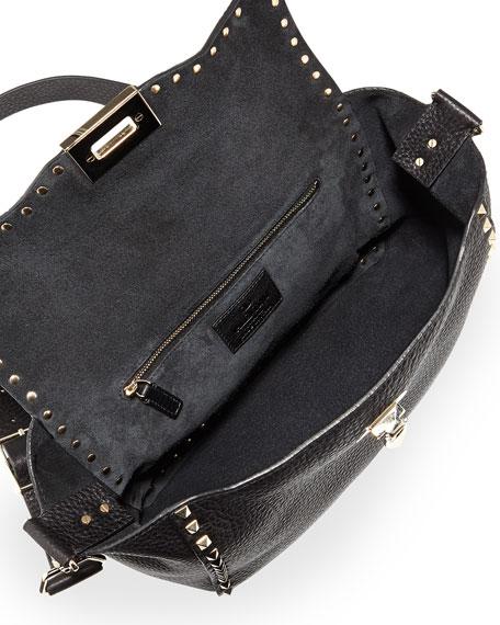 Rockstud Flap Crossbody Bag, Nero